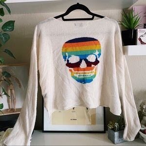 Skull cashmere cream rainbow skull sweater